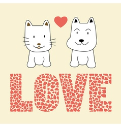 Love cat and dog2 vector image