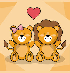Loving couple lion animal baby heart decoration vector