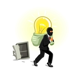 Man in mask stealing lamp from safe vector image vector image