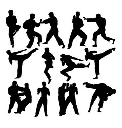 martial art sport silhouettes vector image vector image
