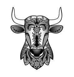Ornamental black bull vector