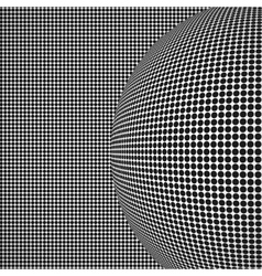 Radial halftone background with sphere vector image