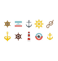 sea element icon set flat style vector image vector image
