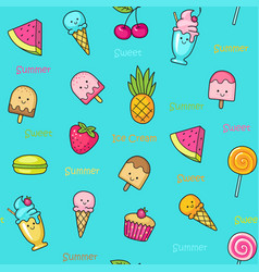 Seamless doodle pattern with idifferent fun sweets vector