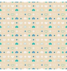 Seamless pattern polka dot with circles and hearts vector