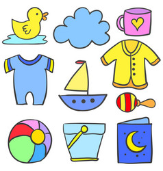 set of baby object doodle vector image vector image