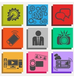 Set of media communication and hipster elements vector image