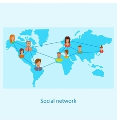 Social network on-line concept for web and vector image vector image