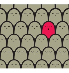 Standing out from the crowd concept vector