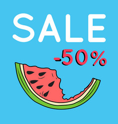 summer sale background with watermelon vector image