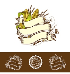 Agricultural farm name ribbon logo vector