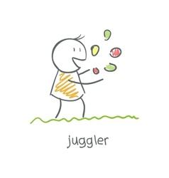 juggler playing with balls vector image