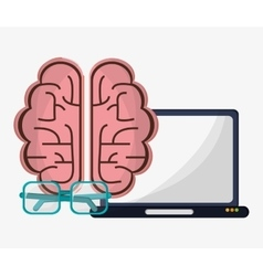 laptop brain creative glasses work vector image