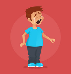 Little boy character crying vector