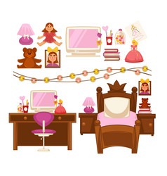 Girl kid room interior furniture and appliances vector