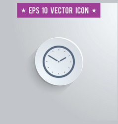 Clock symbol icon on gray shaded background vector