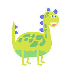 Cute funny green dinosaur prehistoric animal vector