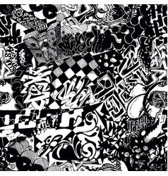 Black and white seamless pattern graffiti sticker vector