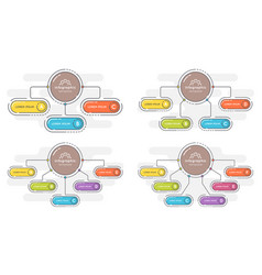 set of flat style 3-6 options presentation vector image