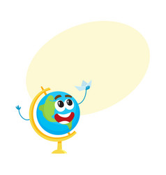 Cute funny smiling school globe character holding vector