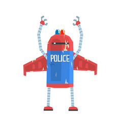 Cute cartoon android policeman character vector