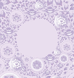 Circle greeting card with violet flowers vector