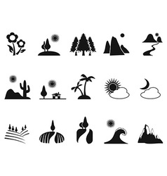 Black landscape icons set vector