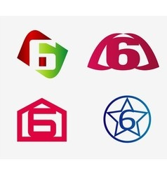 Number six logo template abstract icon set vector