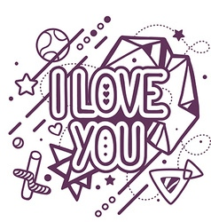 Black and white i love you quote on abstr vector