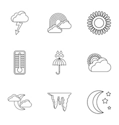 Air temperature icons set outline style vector