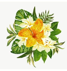 Bouquet of tropical flowers and leaves Isolated vector image