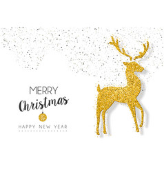 christmas new year gold glitter deer greeting card vector image