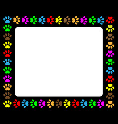 colorful animal paw prints black frame vector image