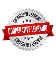 Cooperative learning round isolated silver badge vector