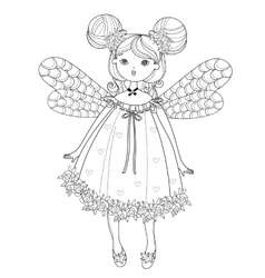Cute fairy girl in flowers doodle vector
