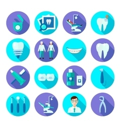 Dental flat icon set vector