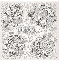 Doodle cartoon set of handmade object vector