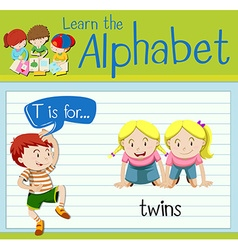 Flashcard letter T is for twins vector image vector image