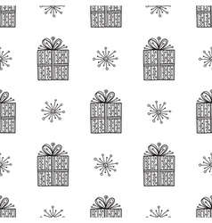 Gift and snowflake christmas seamless pattern vector