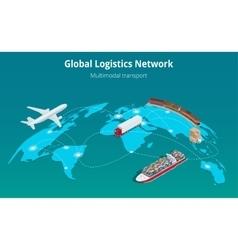 Global logistics network Web site concept Flat 3d vector image vector image