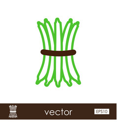 Green bean outline icon vegetable vector
