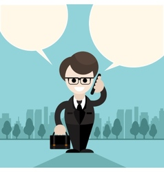 Happy businessman holding phone and talking vector image vector image