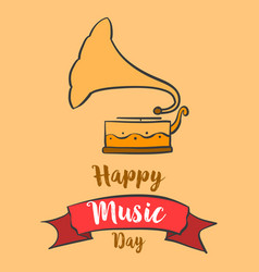 Happy music day greeting card art vector
