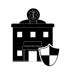 Hospital and shield icon vector