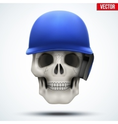 Human skull with baseball helmet vector