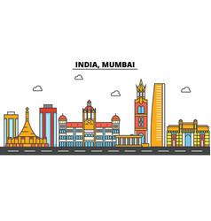 India mumbai city skyline architecture vector