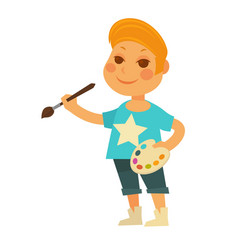 little boy with palette and brush isolated vector image