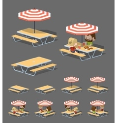 Low poly cafe table with sun umbrella vector