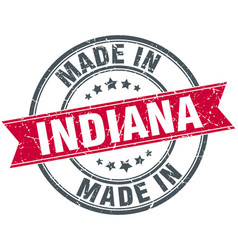 Made in indiana red round vintage stamp vector