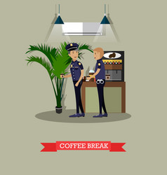Policemen taking coffee break vector